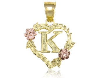 14K Solid Yellow Rose Gold Heart Initial Letter Pendant - A-Z Any Alphabet Flower Necklace Charm