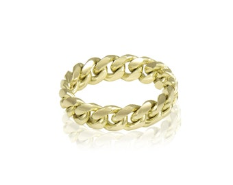 10K Yellow Gold Miami Cuban Link Ring - Curb Stackable Band