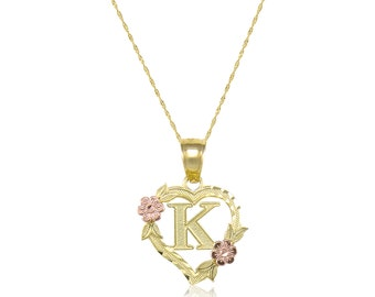 10K Solid Yellow Rose Gold Heart Initial Letter Pendant Singapore Chain Necklace Set - A-Z Any Alphabet Flower Charm
