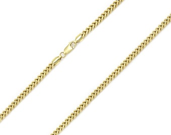 "10K Yellow Gold Hollow Franco Necklace Chain 2.0mm 16-30"" - Box Link"