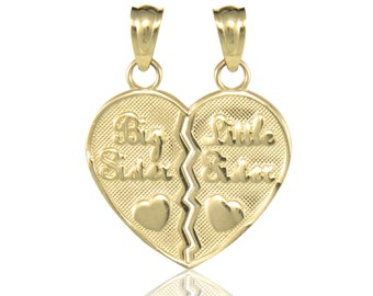 14K Solid Yellow Gold Big Little Sister Half Heart Pendant - Love Necklace Charm