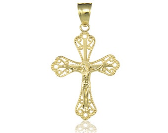 14K Solid Yellow Gold Crucifix Cross Pendant - Jesus Polished Plain Necklace Charm