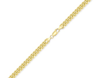 "10K Yellow Gold Hollow Miami Cuban Bracelet 4.5mm 7-9"" - Curb Chain Link"