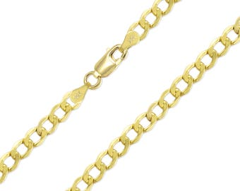 """10K Yellow Gold Hollow Cuban Necklace Chain 6.5mm 20-30"""" - Round Curb Link"""