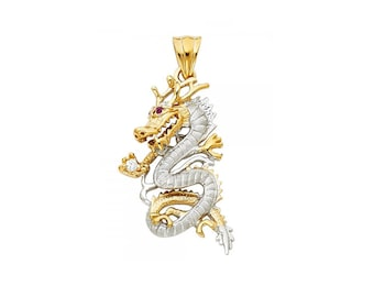 14K Solid Yellow White Gold Cubic Zirconia Dragon Pendant - Diamond Cut Necklace Charm
