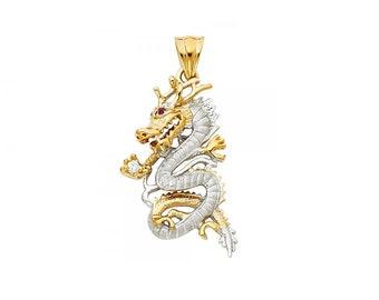 14K Solid Yellow White Gold Cubic Zirconia Dragon Pendant - Diamond Cut Necklace Charm