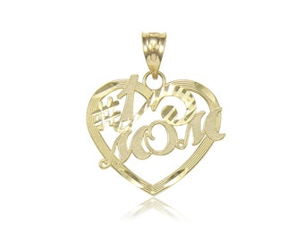 14K Solid Yellow Gold Heart #1 Mom Pendant - Number One Mother Love Necklace Charm