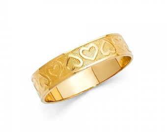 14K Solid Yellow Gold Heart Ring - Love Finger Knuckle Thumb Band Women's