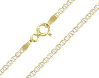 "10K Solid Yellow Gold White Pave Mariner Necklace Chain 2.5mm 16-26"" - Diamond Cut Anchor Link"