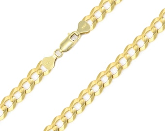 """10K Solid Yellow Gold Cuban Necklace Chain 7.5mm 20-30"""" - Round Curb Link"""