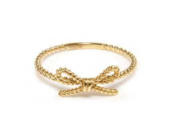 14K Solid Yellow Gold Ribbon Rope Ring - Lace Love Stackable Finger Knuckle Midi Thumb Band