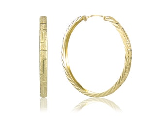 14K Solid Yellow Gold Textured Round Hoop Earrings - Diamond Cut
