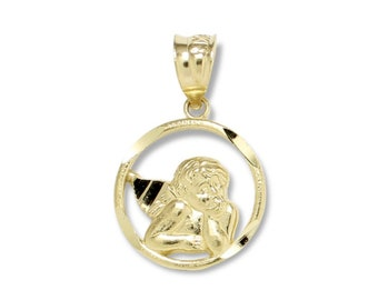 10K Solid Yellow Gold Baby Angel Medal Pendant - Guardian Round Necklace Charm