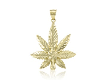 14K Solid Yellow Gold Marijuana Leaf Pendant - Cannabis Weed Pot Necklace Charm