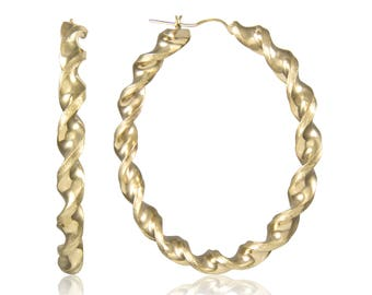 10K Yellow Gold Round Twisted Hoop Earrings 6.0mm 45-75mm - Swirl Twist