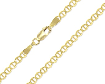 "10K Solid Yellow Gold Mariner Anklet 3.0mm 10"" - Anchor Chain Link"