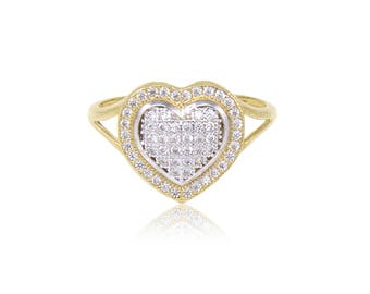14K Solid Yellow Gold Cubic Zirconia Cluster Heart Ring - Love Polished Finger Band
