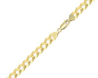 "14K Solid Yellow Gold Cuban Bracelet 6.0mm 8-9"" - Curb Chain Link"