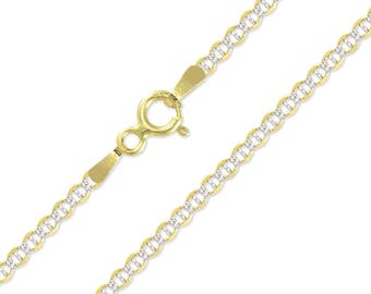 """10K Solid Yellow Gold White Pave Mariner Necklace Chain 2.0mm 16-26"""" - Diamond Cut Anchor Link"""