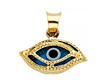 Solid gold evil eye etsy 14k solid yellow gold evil eye pendant blue good luck necklace charm aloadofball Gallery