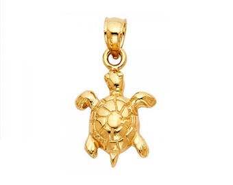 14k Yellow Gold CZ Open Shell Sea Turtle Good Luck Pendant Necklace