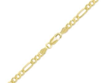 "10K Yellow Gold Hollow Figaro Bracelet 4.5mm 7-9"" - Polished Chain Link"