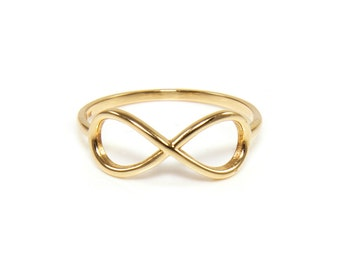 14K Solid Yellow Gold Infinity Ring - Love Stackable Finger Knuckle Midi Thumb Band