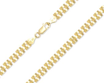 "10K Solid Yellow Gold Custom Rolex Choker Necklace Chain 5.0mm 18-30"" - Watch Band Link"
