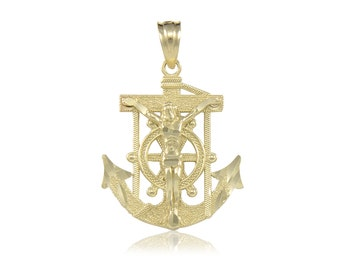 10K Solid Yellow Gold Jesus Crucifix Anchor Pendant - Mariner Cross Necklace Charm