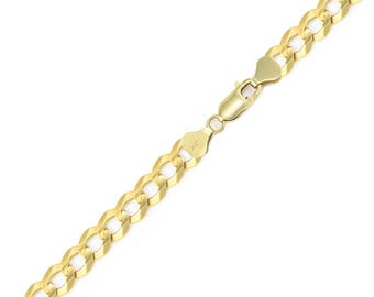 "14K Solid Yellow Gold Cuban Bracelet 7.5mm 8-9"" - Curb Chain Link"