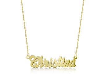 10K Solid Yellow Gold Personalized Custom Cursive Name Pendant Singapore Chain Necklace Set - Alphabet Letter Charm