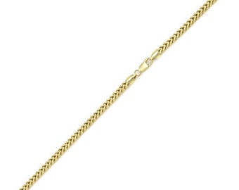"10K Yellow Gold Hollow Franco Bracelet 1.5mm 7-8"" - Box Chain Link"