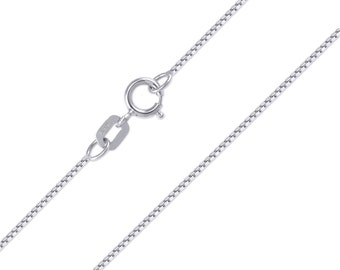 "14K Solid White Gold Box Necklace Chain 0.6mm 16-24"" - Polished Link"