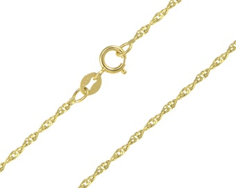 "14K Solid Yellow Gold Singapore Necklace Chain 2.0mm 16-24"" - Diamond Cut Link"