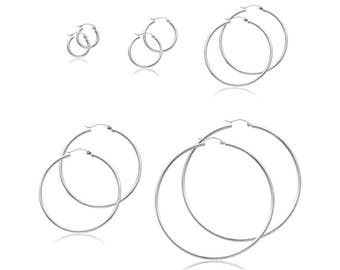 14K White Gold Round Hoop Earrings 2.0mm 13-65mm - Classic Polished Plain Tube