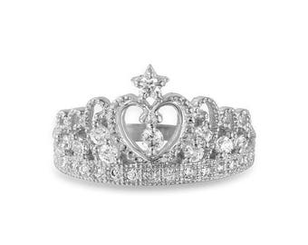 10K Solid White Gold Cubic Zirconia Crown Ring - Royal Band