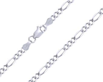 "10K Solid White Gold Figaro Necklace Chain 6.0mm 20-30"" - Polished Link"