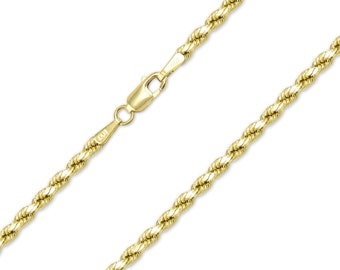 "10K Yellow Gold Hollow Diamond Cut Silk Rope Necklace Chain 3.0mm 18-30"" - Link"