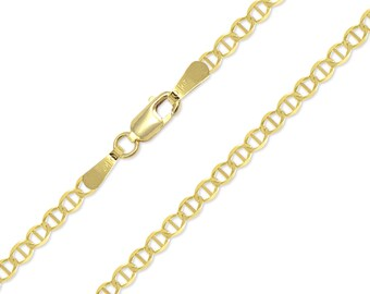 "10K Solid Yellow Gold Custom Mariner Choker Necklace Chain 2.5mm 11-15"" - Anchor Link"