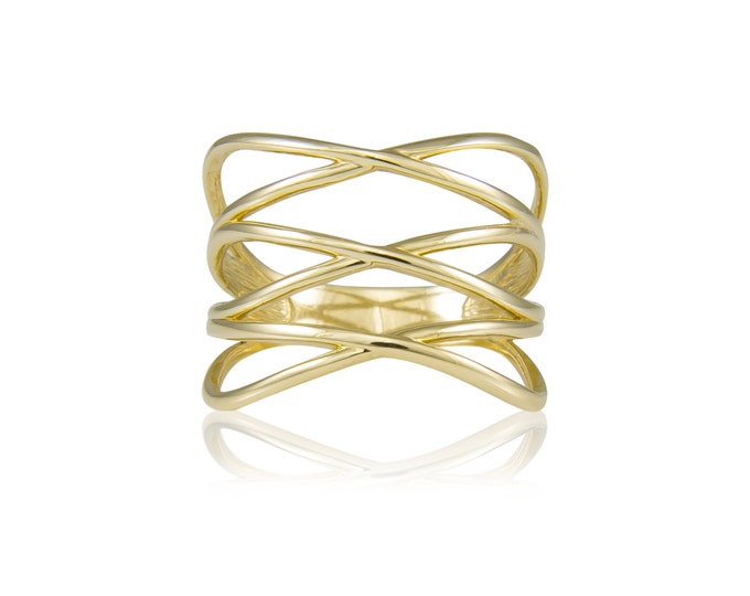 Featured listing image: 14K Solid Yellow Gold Crossover Ring - Stackable Finger Knuckle Midi Thumb Love Plain Band