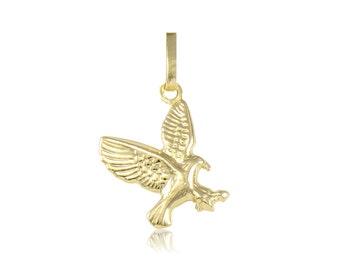 14K Yellow Gold Eagle Pendant - Flying Bird Polished Necklace Charm