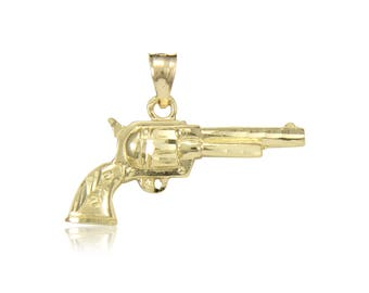 14K Solid Yellow Gold Revolver Gun Pendant - Handgun Necklace Charm