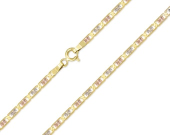 "14K Solid Yellow White Rose Gold Valentino Necklace Chain 2.1mm 16-24"" - Tri Color Link"
