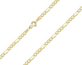 "10K Solid Yellow Gold Figaro Necklace Chain 2.5mm 16-24"" - Polished Link"