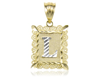 14K Solid Yellow White Gold Initial Letter Plate Pendant - A-Z Any Alphabet Necklace Charm