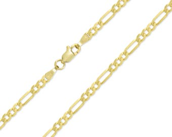"14K Yellow Gold Hollow Figaro Necklace Chain 3.5mm 16-30"" - Polished Link"