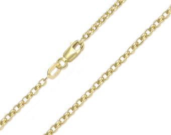 "10K Yellow Gold Hollow Rolo Necklace Chain 2.5mm 18-30"" - Round Cable Link"