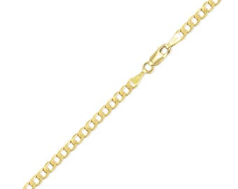 "14K Yellow Gold Hollow Cuban Bracelet 3.5mm 7-9"" - Curb Chain Link"