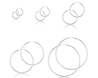 14K White Gold Endless Round Hoop Earrings 2.0mm 15-65mm - Classic Polished Plain Tube