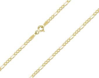 "10K Solid Yellow Gold Figaro Necklace Chain 1.5mm 16-24"" - Polished Link"